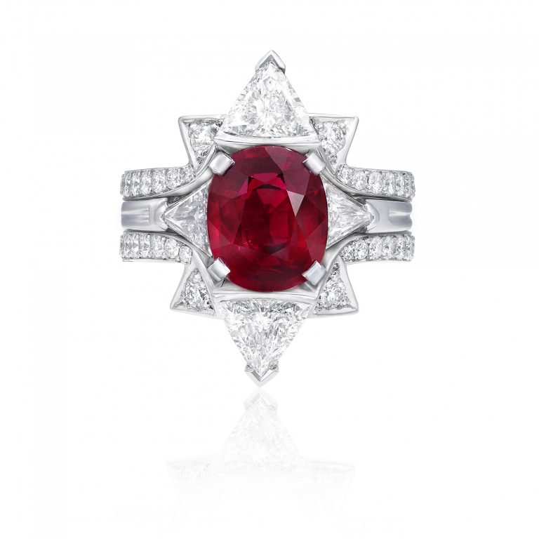 Double frame Oval Ruby ring _top with ring
